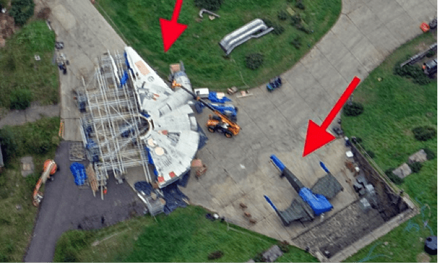 Photo: Matthew Myatt spotted the Millennium Falcon and X-wing on the ground while on a publicity shoot for his flying school in Berkshire.