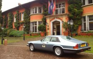 Doug's Jaguar XJS outside hotel at Lake Lugano, Switzerland